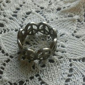 Jewelry - Silver Peace Signs Band Ring